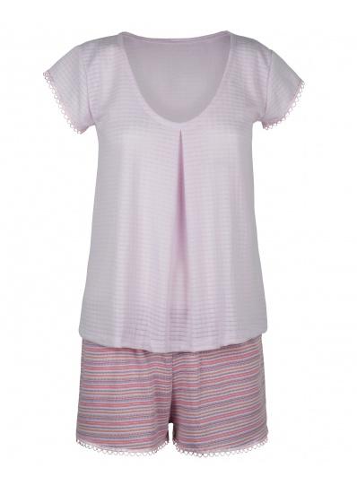 Pijama Blusa E Short Algodão Doce Rosa