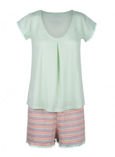 Pijama Blusa E Short Algodão Doce Verde