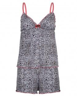 Camisete E Short Onça Fashion Coral