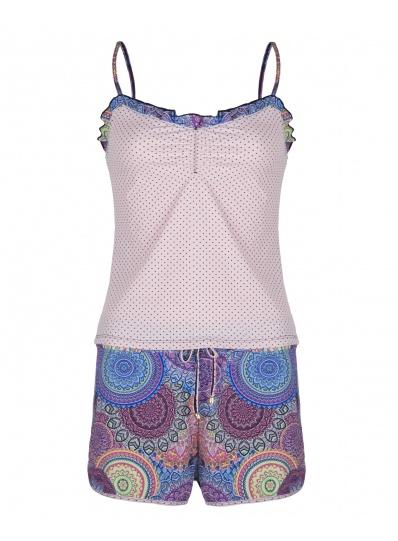 Pijama Camisete E Short Xodó Do Verão Rosa Mandalas