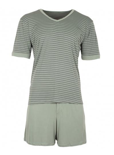 Pijama Masculino Blusa e short listras Verde Musgo