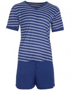 Pijama Masculino Blusa e short listras Azul