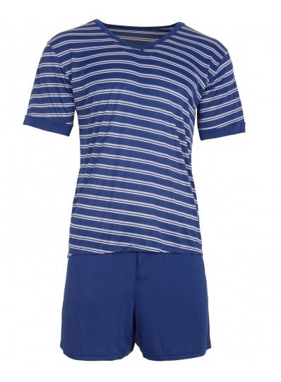 Pijama Masculino Blusa e short listras Verde Azul