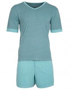 Pijama Masculino Blusa e short listras Verde Água