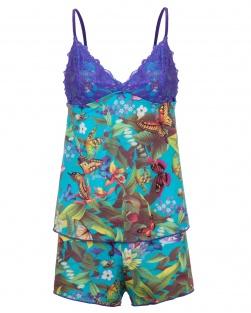 Pijama Camisete E Short Estampa Azul Floral