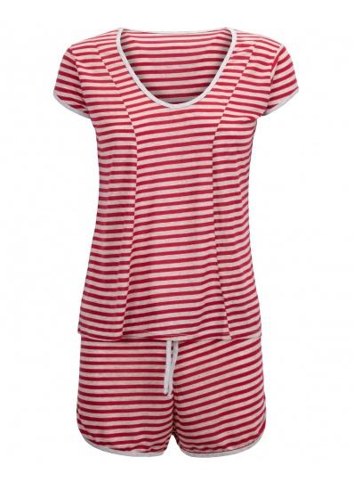 Pijama Blusa E Short Floralistas Vermelho