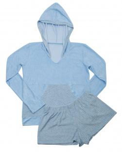 Pijama Short e Blusa Com Capuz Lola Azul