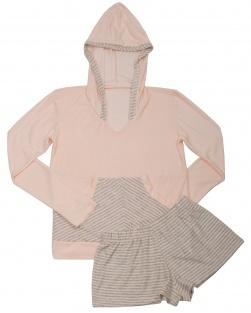 Pijama Short e Blusa Com Capuz Lola Salmão