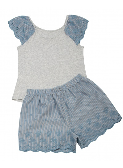 Pijama Blusa E Short Handmade Cinza
