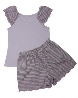 Pijama Blusa E Short Handmade Lilás