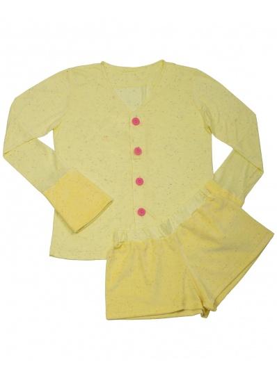 Pijama Casaco e Short Pelúcia Amarelo