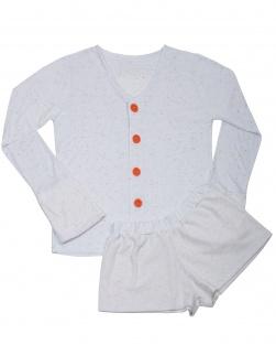 Pijama Casaco e Short Pelúcia Branco