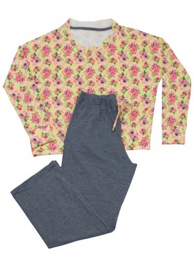 Pijama Blusa e Calça Flora Urbana Amarelo