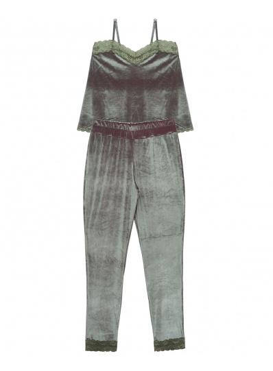 Pijama Velvet Calça E Camisete Cinza