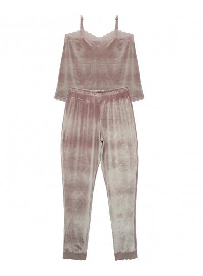 Pijama Velvet Calça E Camisete Veludo Rosa