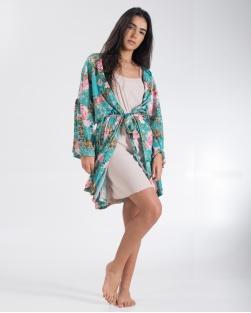 Conjunto Kimono Camisola Pink / Verde