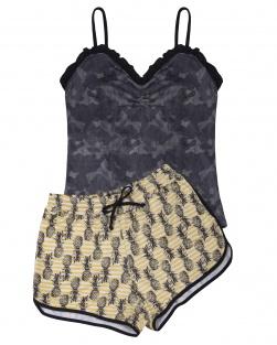 Pijama Camisete E Short Xodó Do Verão Abacaxi
