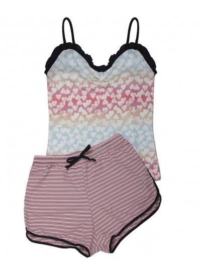 Pijama Camisete E Short Xodó Do Verão Coração