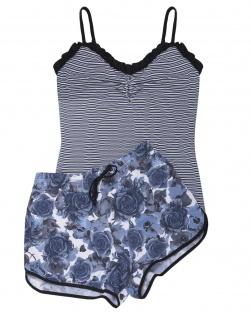 Pijama Camisete E Short Xodó Do Verão Floral