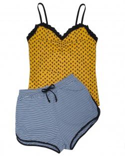 Pijama Camisete E Short Xodó Do Verão Amarelo Coração Preto