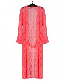 Robe Kimono Laise Em Renda Rosa Fluor
