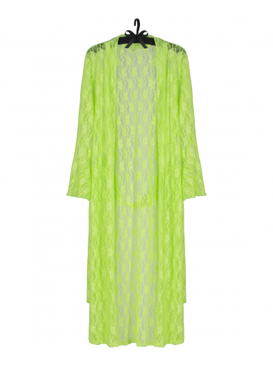 Robe Kimono Laise Em Renda Verde Fluor