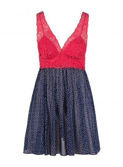 Camisola Estrelas Em Tule Azul E Renda Pink
