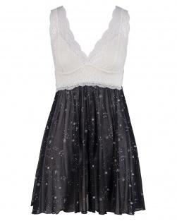 Camisola Estrelas Em Tule Preto E Renda Marfim