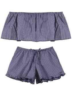 Short doll Juliana Em Tricoline Xadrez Marinho