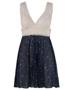 Camisola Estrelas Em Tule Azul E Renda Marfim
