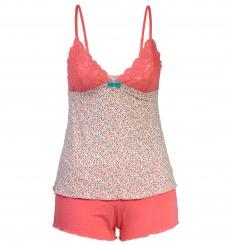 Pijama Modal Floral Coral